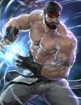 1boy abs bandages bara beard black_hair body_hair bulge chest chest_hair facial_hair fighting_stance highres jang_ju_hyeon kamehameha male_focus manly muscle nipples pants pectorals ryuu_(street_fighter) shirtless simple_background street_fighter thick_thighs thighs