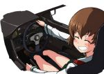 1girl bangs black_legwear blouse brown_eyes brown_footwear brown_hair car closed_eyes commentary driving facing_back facing_viewer freckles girls_und_panzer green_skirt grin ground_vehicle kayabakoro loafers long_sleeves miniskirt motor_vehicle ooarai_school_uniform pleated_skirt school_uniform shoes short_hair sitting skirt smile socks solo tsuchiya_(girls_und_panzer) vehicle_interior white_blouse