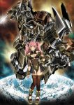 1girl bangs bikini bikini_top blush breast_cutout breasts clenched_hand garimpeiro glowing glowing_eyes green_eyes hand_on_hip highres horns leotard looking_at_viewer mecha medium_breasts open_hand original pink_hair single_horn swimsuit thigh-highs twintails wrist_blades yellow_eyes