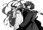 1girl 2boys closed_mouth double_v eyebrows_visible_through_hair fate/grand_order fate_(series) fedora floating gloves greyscale hair_over_one_eye hand_up hat holding holding_sword holding_weapon jacket katana long_sleeves looking_at_viewer monochrome multiple_boys neckerchief okada_izou_(fate) one_eye_covered oryou_(fate) pleated_skirt ponytail sakamoto_ryouma_(fate) school_uniform serafuku sheath sheathed shirabi skirt smile sword v weapon white_background
