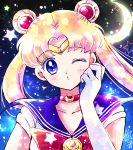 1girl bangs bishoujo_senshi_sailor_moon blonde_hair blue_eyes blue_sailor_collar bow bowtie choker circlet collarbone collared_shirt crescent crescent_choker crescent_earrings double_bun earrings elbow_gloves eyebrows_visible_through_hair floating_hair gloves hair_intakes hoshikuzu_(milkyway792) jewelry long_hair looking_at_viewer one_eye_closed parted_lips red_bow red_choker red_neckwear sailor_collar sailor_moon sailor_senshi_uniform sailor_shirt shiny shiny_hair shirt short_sleeves solo upper_body very_long_hair white_gloves white_shirt