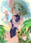 1girl alternate_costume aqua_eyes bangs bare_legs beach blonde_hair blue_sky blue_swimsuit blurry blush breasts closed_mouth clouds cloudy_sky commentary day depth_of_field drink drinking_straw earrings eyelashes floral_print flower food glint hair_ornament hairclip hat highres holding holding_drink ice_cream jewelry korok leaf lips looking_at_viewer medium_breasts one-piece_swimsuit outdoors parted_bangs pointy_ears princess_zelda shaved_ice short_hair shuri_(84k) sitting sky sleeveless smile solo_focus sparkle straw_hat sundae sunflower swimsuit symbol_commentary the_legend_of_zelda the_legend_of_zelda:_breath_of_the_wild the_legend_of_zelda:_breath_of_the_wild_2 thick_eyebrows thighs triforce turtleneck twitter_username two-tone_swimsuit white_swimsuit