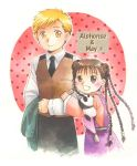 1boy 1girl :d age_difference alphonse_elric animal animal_on_shoulder black_eyes black_hair black_neckwear black_pants blonde_hair blush braid brown_vest character_name chinese_clothes circle clenched_hand closed_mouth coat collared_shirt color_ink_(medium) cropped_legs double_bun dress_shirt eyelashes fullmetal_alchemist hair_bobbles hair_ornament hands_on_another's_arm happy height_difference high_collar holding holding_coat long_sleeves looking_at_another looking_down looking_up may_chang multiple_braids necktie nib_pen_(medium) open_mouth panda pants pink_background polka_dot polka_dot_background shirt side-by-side simple_background smile standing tareme traditional_media uho_(uhoponta) vest waistcoat white_background wide-eyed wide_sleeves xiao-mei yellow_eyes