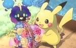 :d basket commentary_request cosmog day flower flower_basket gen_1_pokemon gen_7_pokemon grass kokoroko legendary_pokemon looking_at_object no_humans open_mouth outdoors pikachu pokemon pokemon_(creature) size_difference smile standing tongue water