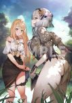 2girls ass atelier_(series) atelier_ryza atelier_ryza_2 bare_shoulders black_skirt blonde_hair blurry blurry_background breasts highres klaudia_valentz large_breasts lila_decyrus long_hair looking_at_viewer multiple_girls official_art pale_skin puffy_short_sleeves puffy_sleeves sample short_sleeves skirt skirt_lift thick_thighs thigh_strap thighs toridamono watermark wet wet_clothes white_hair yellow_eyes