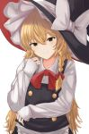 1girl alternate_eye_color apron bangs black_headwear black_vest blonde_hair bow bowtie braid brown_eyes buttons closed_mouth collared_shirt commentary eyebrows_visible_through_hair frilled_apron frills hair_between_eyes hair_bow hair_ribbon half-closed_eyes hand_up hat hat_bow highres kirisame_marisa koujouchou large_hat light_blush long_hair long_sleeves looking_at_viewer neck_ribbon red_bow red_neckwear red_ribbon ribbon shirt side_braid sidelocks simple_background sleeves_past_wrists smile solo tilted_headwear touhou upper_body very_long_hair vest waist_apron white_background white_bow white_shirt wing_collar witch_hat