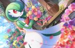 :d basket clouds commentary_request day flower gardevoir gen_3_pokemon hands_up holding holding_flower kokoroko looking_to_the_side no_humans open_mouth outdoors pokemon pokemon_(creature) red_eyes sky smile solo tongue wood