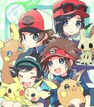 4boys :d alolan_form alolan_raichu artist_name bangs baseball_cap black_hair blue_jacket brown_hair calme_(pokemon) closed_mouth commentary_request eyewear_on_headwear gen_1_pokemon gen_2_pokemon gen_7_pokemon grey_eyes hat holding holding_pokemon jacket kokoroko kyouhei_(pokemon) mimikyu multiple_boys open_mouth pichu pikachu pokemon pokemon_(creature) pokemon_(game) pokemon_bw pokemon_bw2 pokemon_on_arm pokemon_sm pokemon_xy raichu red_headwear shirt short_sleeves smile sunglasses tongue touya_(pokemon) visor_cap you_(pokemon)