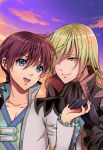 2boys :d absurdres asbel_lhant black_neckwear blonde_hair blue_eyes closed_mouth clouds cloudy_sky coat cravat gloves hair_over_one_eye highres holding_hands jacket long_sleeves male_focus multiple_boys one_eye_covered open_clothes open_jacket open_mouth purple_gloves purple_sky redhead richard_(tales) sky smile sunset tales_of_(series) tales_of_graces upper_teeth usagi_nagomu white_jacket yellow_eyes