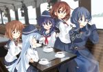 5girls akatsuki_(kantai_collection) black_headwear black_neckwear blue_eyes blue_hair blue_skirt breasts brown_eyes brown_hair coffee commentary_request cup eyebrows_visible_through_hair fang flat_cap folded_ponytail gloves gotland_(kantai_collection) hair_ornament hairclip hat hibiki_(kantai_collection) highres hizuki_yayoi ikazuchi_(kantai_collection) inazuma_(kantai_collection) kantai_collection long_hair long_sleeves multiple_girls neckerchief necktie open_mouth plate pleated_skirt ponytail purple_hair red_neckwear sailor_collar school_uniform serafuku short_hair sidelocks sitting skin_fang skirt table uniform violet_eyes white_gloves