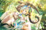 animals blonde_hair blue_eyes blush dress idolmaster_cinderella_girls_starlight_stage short_hair smile umeki_otoha