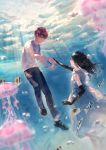 1boy 1girl barefoot black_gloves blue_eyes blurry_foreground brown_eyes brown_hair caustics dress elbow_gloves eye_contact fish floating_hair gloves highres holding_hands jellyfish light_rays long_hair looking_at_another original reaching_out shoes short_hair sleeveless sleeveless_dress sneakers sousou_(sousouworks) sunlight underwater