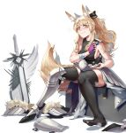 1girl absurdres animal_ears arknights armor black_legwear blemishine_(arknights) blonde_hair blush breasts commentary_request cy9 extra_ears eyebrows_visible_through_hair fingerless_gloves full_body gloves highres horse_ears horse_girl horse_tail long_hair looking_at_viewer medium_breasts ponytail sideboob simple_background sitting sleeveless smile solo sword tail thigh-highs weapon white_background yellow_eyes