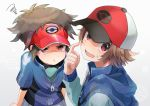 2boys baseball_cap blue_jacket brown_hair commentary_request hand_up hat jacket kokoroko kyouhei_(pokemon) long_sleeves looking_at_another looking_away male_focus multiple_boys open_mouth pokemon pokemon_(game) pokemon_bw pokemon_bw2 pout red_eyes red_headwear shaded_face short_sleeves simple_background touya_(pokemon) v-shaped_eyebrows visor_cap white_background zipper_pull_tab