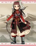 1girl amira black_hair blue_footwear boots braid brown_eyes closed_mouth full_body head_scarf jewelry long_hair long_sleeves looking_at_viewer necklace otoyomegatari red_shirt sash shirt smile solo sunameri_oishii traditional_clothes