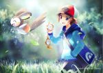 1boy artist_name bag baseball_cap blue_jacket brown_hair commentary_request day emolga gen_5_pokemon grass hand_in_pocket hand_up hat holding jacket kokoroko leaves_in_wind light_beam open_mouth outdoors pants poke_ball_print pokemon pokemon_(creature) pokemon_(game) pokemon_bw shoulder_bag sparkle tongue touya_(pokemon) zipper_pull_tab
