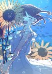 1girl ^_^ closed_eyes fish floating_hair flower highres i7 open_mouth original smile solo sunflower underwater