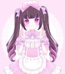 1girl apron bangs blunt_bangs blush bow brown_hair closed_mouth collared_dress commentary_request doily dress eyebrows_visible_through_hair frilled_apron frilled_dress frilled_shirt_collar frills hair_bow hands_up heart heart-shaped_pupils highres himetsuki_luna long_hair looking_at_viewer maid maid_headdress original pink_background pink_bow pink_dress polka_dot polka_dot_background puffy_short_sleeves puffy_sleeves purple_bow ringlets short_sleeves sidelocks smile solo symbol-shaped_pupils twintails very_long_hair violet_eyes waist_apron white_apron wrist_cuffs