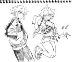 1boy bangs belt bhh4321 candy choker eraser food greyscale hair_between_eyes highres jacket jeong_sana letterman_jacket lollipop looking_at_viewer monochrome mouth_hold otoko_no_ko shoes short_shorts shorts sidelocks simple_background sketch sketchbook sneakers solo suicide_boy tank_top thigh-highs white_background
