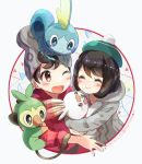 1boy 1girl :d bangs beanie black_hair blush cardigan closed_eyes closed_mouth collared_shirt commentary_request green_headwear grey_cardigan grey_headwear hat holding holding_pokemon hug kokoroko looking_up masaru_(pokemon) on_head one_eye_closed open_mouth pokemon pokemon_(creature) pokemon_(game) pokemon_on_arm pokemon_on_head pokemon_swsh red_eyes shirt sleeves_rolled_up smile starter_pokemon starter_pokemon_trio tam_o'_shanter tongue yuuri_(pokemon)