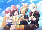 1girl 3boys ^_^ bangs baseball_cap beanie black_hair black_shirt blonde_hair blue_eyes closed_eyes clouds commentary_request day eating feeding food gladio_(pokemon) green_hair hat hau_(pokemon) holding holding_food kokoroko mizuki_(pokemon) multiple_boys open_mouth outdoors pants pokemon pokemon_(game) pokemon_sm red_headwear shirt short_sleeves shorts sitting sky striped striped_shirt tied_shirt watermark yellow_shirt you_(pokemon)