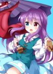 1girl :o aqua_vest bangs blue_background blue_eyes blue_skirt blush cosplay eyebrows_visible_through_hair footwear_removed geta gradient gradient_background hair_between_eyes heterochromia highres juliet_sleeves karakasa_obake long_hair long_sleeves looking_away puffy_sleeves purple_hair red_eyes reisen_udongein_inaba ruu_(tksymkw) shirt simple_background skirt solo tatara_kogasa tatara_kogasa_(cosplay) tongue touhou umbrella very_long_hair white_shirt