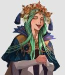 1girl dress fire_emblem fire_emblem:_three_houses flower green_eyes green_hair hair_flower hair_ornament long_hair long_sleeves looking_at_viewer open_mouth rhea_(fire_emblem) sawarame7674 simple_background smile solo tiara