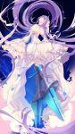 1girl back bangs blue_eyes blush breasts dress fate/extra fate/extra_ccc fate_(series) grin head_tilt highres juliet_sleeves long_hair long_sleeves looking_at_viewer looking_back meltryllis petals puffy_sleeves purple_hair sleeves_past_fingers sleeves_past_wrists small_breasts smile thighs untue very_long_hair white_dress