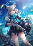 1girl animal_ears bag bicycle blue_archive blue_eyes building clouds commentary_request grey_hair ground_vehicle gun hair_ornament hairclip halo highres liebe medium_hair rifle shiroko_(blue_archive) sig_556 sky tree trigger_discipline weapon