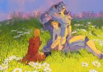 2boys :d ^_^ ahoge alphonse_elric amputee arm_at_side arm_support armor black_pants blonde_hair blue_sky braid broken brothers clenched_teeth closed_eyes coat collared_shirt commentary_request daisy edward_elric facing_away facing_viewer field fingernails flamel_symbol flower flower_field full_armor fullmetal_alchemist gradient gradient_sky grass grey_sweater hand_on_own_knee happy highres hood hood_down hooded_coat male_focus messy_hair multiple_boys open_mouth outdoors pants parted_lips pink_sky plant purple_sky red_coat red_sky seiza shirt shorts siblings sitting sky smile sun sunlight sunset sweater teeth time_paradox white_flower wide_shot ye_(ran_chiiipye)