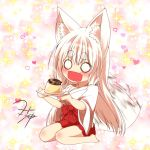 1girl animal_ears blush commentary_request eyebrows_visible_through_hair fang food fox_ears fox_girl fox_tail hair_between_eyes hakama heart holding holding_plate japanese_clothes kimono kohaku_(yua) long_hair long_sleeves o_o open_mouth original plate pudding red_hakama seiza signature sitting solo sparkle tail thick_eyebrows white_hair white_kimono wide_sleeves yua_(checkmate)