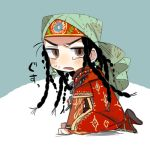 1girl aqua_background black_hair braid brown_eyes chibi dress earrings from_side frown full_body head_scarf jewelry long_hair long_sleeves looking_at_viewer multiple_braids necklace open_mouth otoyomegatari pariya red_dress sitting solo sunameri_oishii sweat traditional_clothes two-tone_background white_background