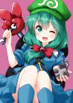 1girl ;d backpack bag bangs blue_dress blue_footwear boots bow cosplay dress eyebrows_visible_through_hair front_ponytail green_eyes green_hair green_headwear hair_between_eyes hair_bow hat highres holding holding_wrench kagiyama_hina kawashiro_nitori kawashiro_nitori_(cosplay) key long_hair looking_at_viewer mechanical_arm nobiiru_arm one_eye_closed open_mouth purple_background red_bow ruu_(tksymkw) simple_background smile solo touhou v wrench