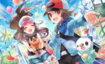 1boy 1girl :d artist_name bag balloon baseball_cap black_vest blue_jacket blush brown_hair closed_eyes clouds commentary_request day eyelashes gen_5_pokemon hat high_ponytail holding_hands jacket kokoroko lens_flare long_hair open_mouth oshawott outdoors pokemon pokemon_(creature) pokemon_(game) pokemon_bw red_eyes shirt shorts shoulder_bag sidelocks sky smile tepig tongue touko_(pokemon) touya_(pokemon) vest watermark white_shirt