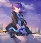 1girl arknights black_jacket black_skirt blue_gloves blue_shirt clouds cloudy_sky collared_shirt dusk gloves gradient_sky hibiscus_(arknights) highres holding horns ion_(on01e) jacket long_sleeves looking_at_viewer miniskirt necktie open_clothes open_jacket outdoors pleated_skirt pointy_ears purple_hair purple_sky shirt short_hair sidelocks skirt sky smile solo staff striped striped_neckwear violet_eyes