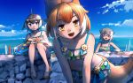 3girls :d animal_ears bangs bare_shoulders bikini blue_eyes blue_hair blue_sky clouds collarbone commentary common_dolphin_(kemono_friends) day dhole_(kemono_friends) dog_ears dog_tail eyebrows_visible_through_hair frilled_bikini frills glasses grey_hair innertube kemono_friends kemono_friends_3 leaning_forward looking_at_viewer meerkat_(kemono_friends) meerkat_ears multicolored_hair multiple_girls open_mouth orange_hair outdoors red_eyes sandals short_hair signature sitting sky smile swimsuit tail two-tone_hair welt_(kinsei_koutenkyoku) white_hair yellow_eyes