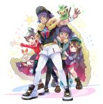 2boys 2girls :d artist_name bangs beanie boots brothers brown_eyes brown_footwear brown_hair cape cardigan closed_mouth commentary_request dande_(pokemon) dress dynamax_band eyebrows_visible_through_hair facial_hair fur-trimmed_cape fur-trimmed_jacket fur_trim gen_8_pokemon grey_cardigan grey_headwear grookey hand_up hat hop_(pokemon) jacket kokoroko masaru_(pokemon) multiple_boys multiple_girls one_eye_closed open_mouth pants pink_dress pokemon pokemon_(creature) pokemon_(game) pokemon_on_arm pokemon_swsh print_shirt purple_hair red_cape red_shirt scorbunny shirt shoes short_sleeves shorts siblings smile sobble standing star_(symbol) starter_pokemon starter_pokemon_trio white_shorts yuuri_(pokemon)