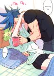 2boys bed bhh4321 blue_hair briefs closed_eyes cup english_text galo_thymos green_hair highres kiss lio_fotia male_focus mug multiple_boys onomatopoeia pillow promare shirt spiky_hair t-shirt underwear yaoi