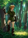 1boy belt belt_buckle black_gloves blonde_hair blue_eyes boots brown_footwear buckle earrings fingerless_gloves forest full_body gloves green_headwear hat highres jewelry liang_yuan_tu link looking_to_the_side male_focus nature pointy_ears sheath sheathed solo standing sword the_legend_of_zelda tree tunic weapon