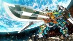 garimpeiro glowing glowing_eyes highres holding holding_sword holding_weapon mecha no_humans original planet solo space sunrise_stance sword v-fin weapon yellow_eyes