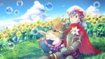 android blue_sky bubble bubble_blowing cape clouds day flower goggles goggles_on_head hana_js hat joints meadow nopon outdoors purple_hair red_cape robot_joints short_hair sitting sky sunflower tora_(xenoblade) twintails white_flower xenoblade_(series) xenoblade_2 yellow_eyes yumiyoiyoi