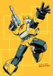 1boy autobot bumblebee dated gun highres holding holding_gun holding_weapon horns insignia kamizono_(spookyhouse) no_humans open_hand open_mouth solo transformers weapon yellow_background