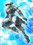 chamber_(suisei_no_gargantia) copyright_name flying from_side green_eyes leg_up looking_up mecha miyako_nagi no_humans open_hands solo suisei_no_gargantia