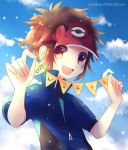 1boy :d artist_name blue_jacket blush brown_hair clouds commentary_request day hands_up holding jacket kokoroko kyouhei_(pokemon) open_mouth orange_eyes outdoors pokemon pokemon_(game) pokemon_bw2 red_headwear short_sleeves sky smile solo upper_body visor_cap