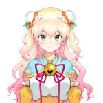 1girl bell blonde_hair blue_capelet blush bun_cover capelet closed_mouth detached_sleeves double_bun gradient_hair green_eyes hair_bell hair_ornament heart highres hololive jingle_bell juliet_sleeves long_sleeves looking_at_viewer momosuzu_nene multicolored_hair neck_bell nishizawa official_art pink_hair puffy_sleeves smile solo transparent_background two_side_up upper_body virtual_youtuber