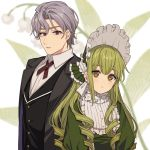 1boy 1girl bangs black_jacket black_vest blurry blurry_background bonnet brown_eyes butler closed_mouth collared_shirt depth_of_field dress dress_shirt eyebrows_visible_through_hair flower green_dress green_headwear grey_hair hair_between_eyes jacket karokuchitose lily_of_the_valley looking_at_viewer open_clothes open_jacket original puffy_sleeves shirt simple_background thick_eyebrows upper_body vest white_background white_flower white_shirt