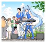 abe_takakazu bare_shoulders blue_eyes blue_legwear blue_shirt child crossover crowd day fence guitar hair_ribbon hatsune_miku headphones headset highres instrument kuso_miso_technique light_blue_hair long_hair miniskirt music necktie open_mouth outdoors pants plant playing_instrument pleated_skirt pocari_sweat ribbon shirt shoes shoulder_tattoo skirt sleeveless sleeveless_shirt smile sneakers speaker tattoo thigh-highs tree tsugumi_(aya-3326) twintails very_long_hair vocaloid white_neckwear white_pants white_skirt yamaha_dx7