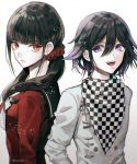 1boy 1girl artist_name black_hair checkered checkered_scarf commentary_request danganronpa eyebrows_visible_through_hair from_side gradient gradient_background hair_between_eyes hair_ornament hair_scrunchie harukawa_maki jacket long_hair looking_at_viewer low_twintails mole mole_under_eye new_danganronpa_v3 ouma_kokichi purple_hair red_eyes red_scrunchie red_shirt sakuyu scarf scrunchie shirt twintails twitter_username upper_body upper_teeth violet_eyes white_background white_jacket