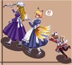 ! 3girls alternate_costume animal_ears apron black_footwear black_legwear blonde_hair blue_dress brown_background brown_hair cat_ears chen closed_eyes commentary_request dress enmaided fox_ears fox_tail full_body gap_(touhou) hat holding holding_tray juliet_sleeves long_hair long_sleeves looking_back maid mary_janes mob_cap multiple_girls multiple_tails open_mouth pantyhose pixel_art plate puffy_sleeves purple_dress red_dress red_footwear shoes short_hair simple_background spoken_exclamation_mark sunny_side_up_egg tail teapot touhou tray tripping two_tails unk_kyouso white_headwear white_legwear yakumo_ran yakumo_yukari