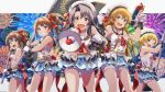 5girls absurdres asymmetrical_bangs bangs bare_shoulders black_hair blonde_hair blue_eyes blue_skirt bow braid brown_hair clouds collarbone cowboy_shot fireworks flag fukuda_noriko gloves grin hair_bow highres holding holding_flag idol idolmaster idolmaster_million_live! idolmaster_million_live!_theater_days kousaka_umi kurobako_bb looking_at_viewer megaphone miniskirt multiple_girls night night_sky open_mouth parted_lips pink_eyes red_bow red_eyes red_neckwear satake_minako shirt short_hair skirt sky sleeves smile takayama_sayoko violet_eyes white_gloves white_headwear white_shirt yokoyama_nao